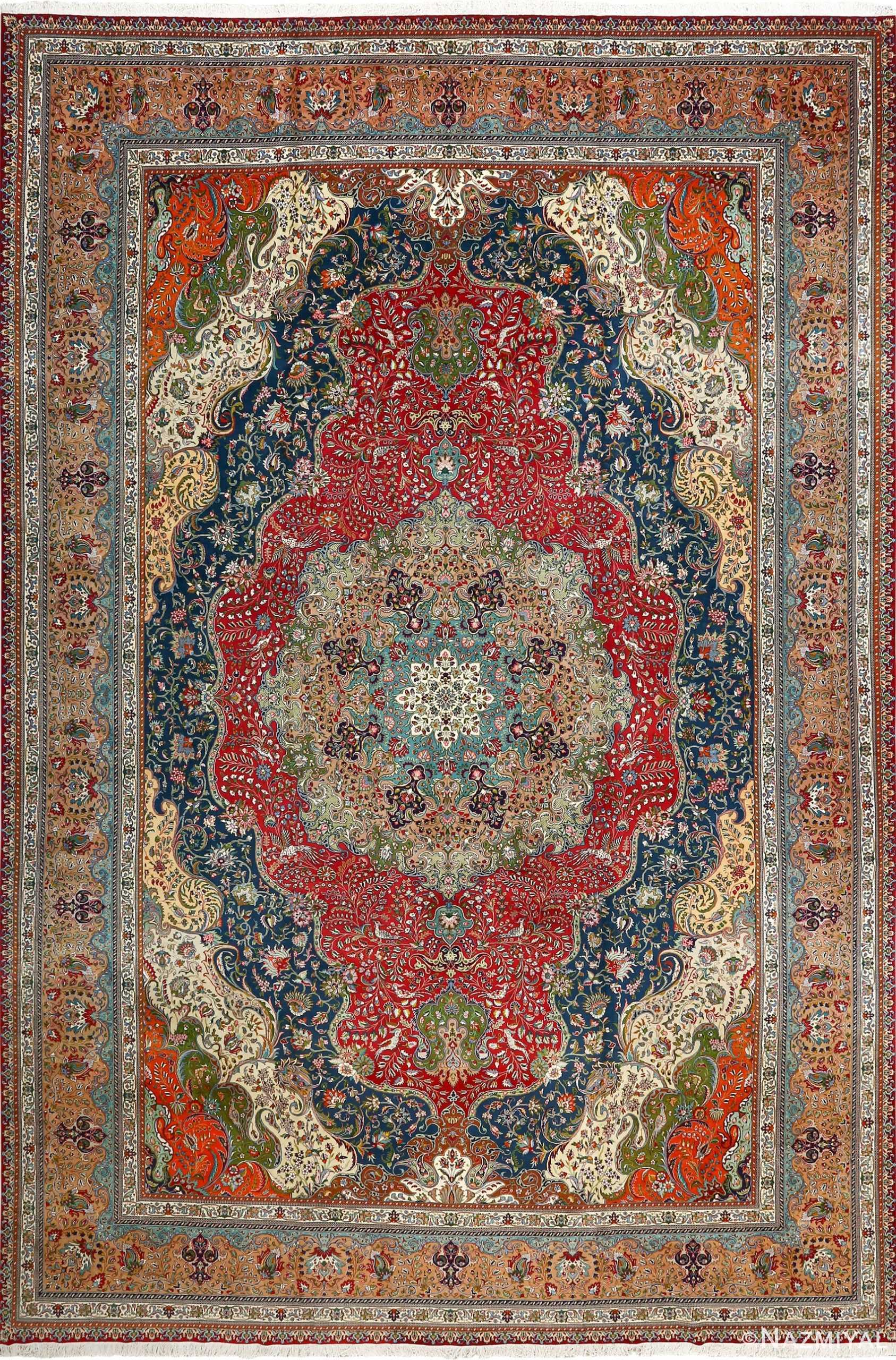 large vintage tabriz persian rug 51081 Nazmiyal