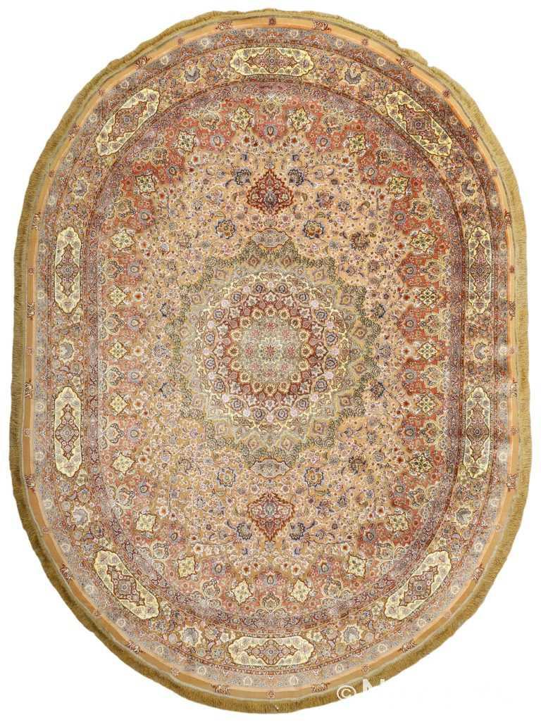 oval silk and gold threading vintage souf tabriz persian rug 51086 Nazmiyal