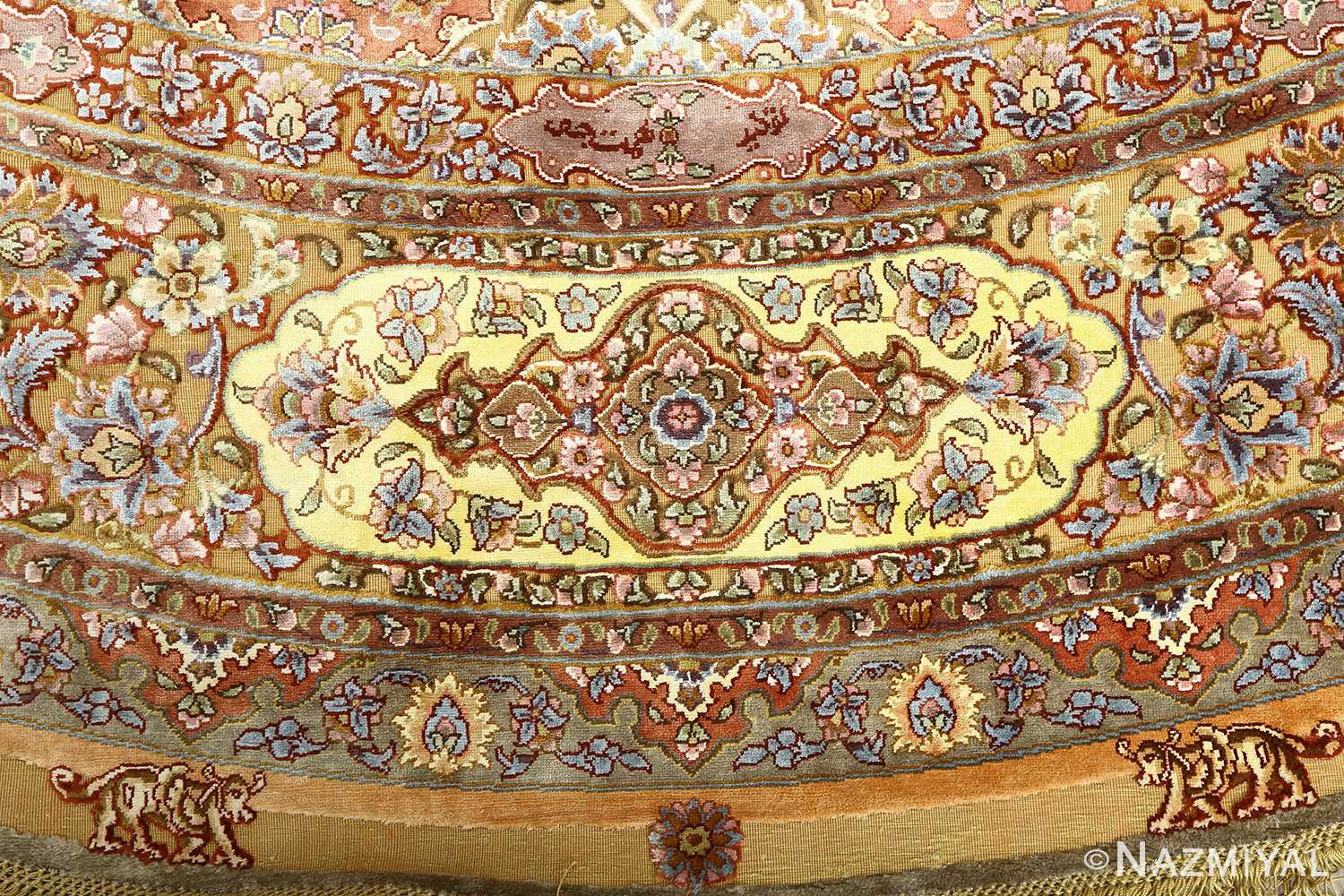 oval silk and gold threading vintage souf tabriz persian rug 51086 border Nazmiyal