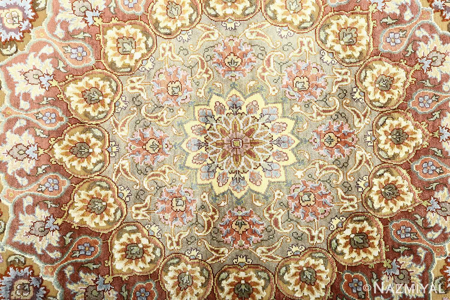 oval silk and gold threading vintage souf tabriz persian rug 51086 center Nazmiyal