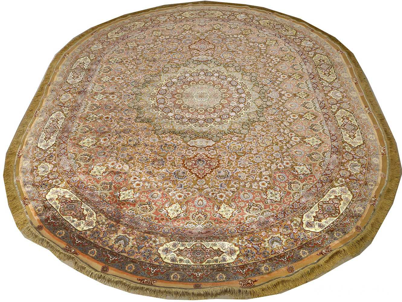 oval silk and gold threading vintage souf tabriz persian rug 51086 full Nazmiyal