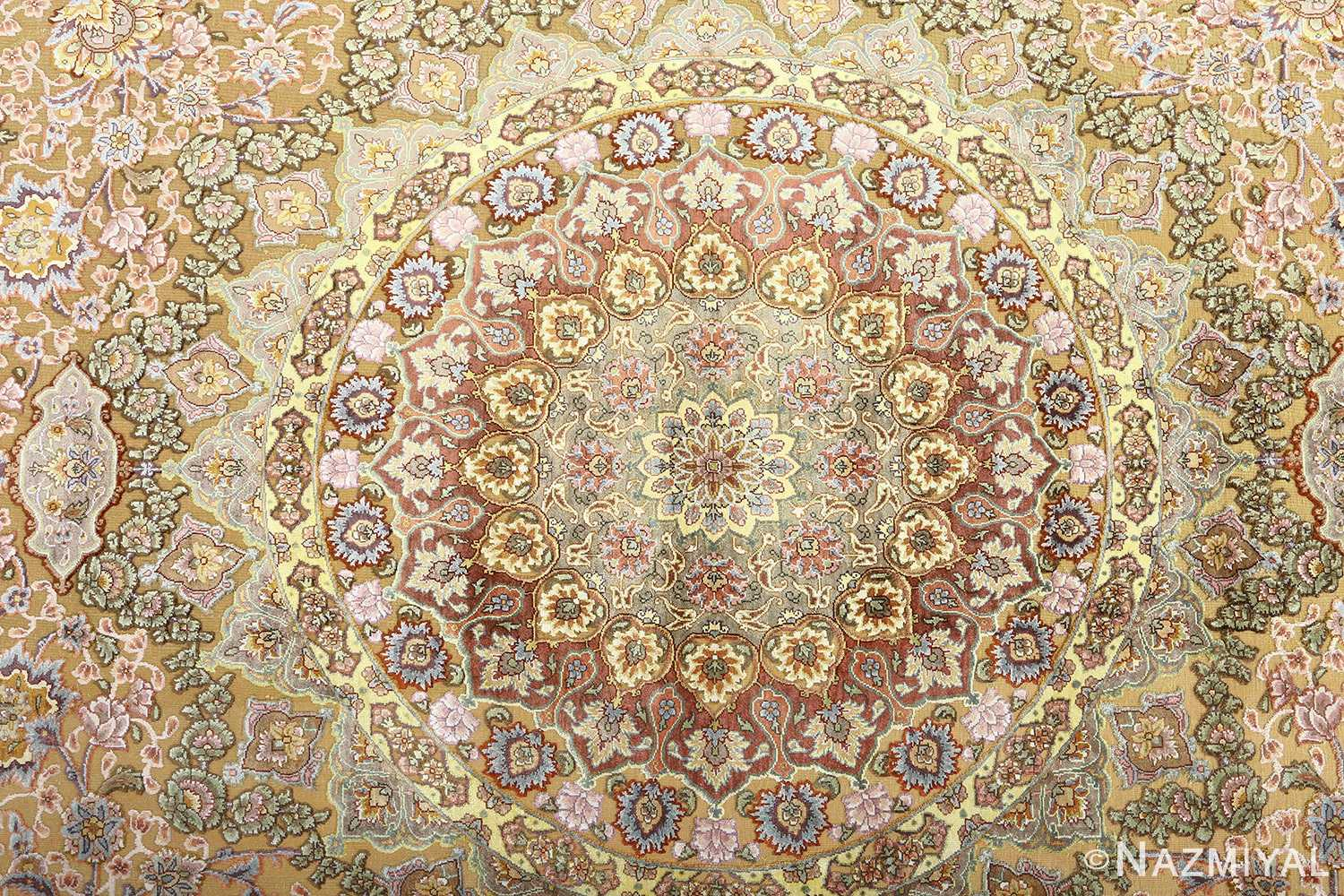 oval silk and gold threading vintage souf tabriz persian rug 51086 medallion Nazmiyal