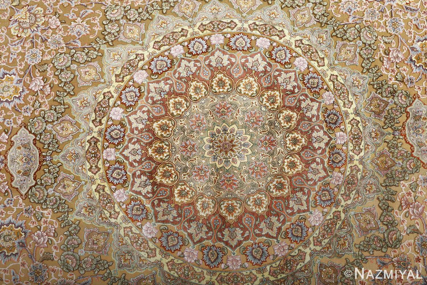 oval silk and gold threading vintage souf tabriz persian rug 51086 middle Nazmiyal