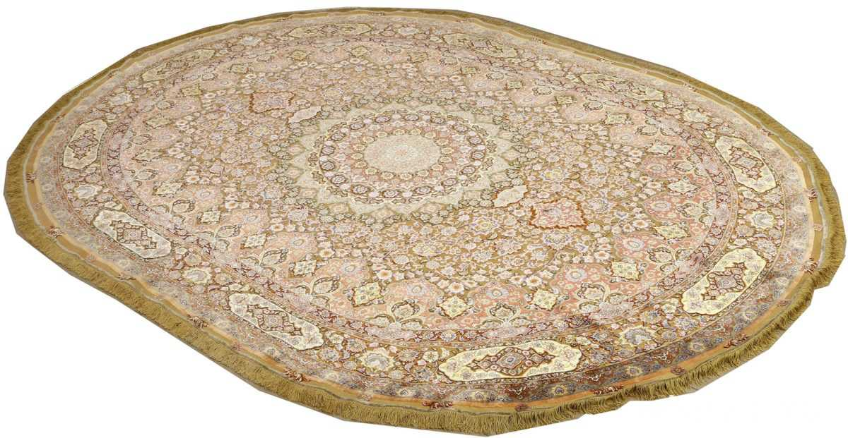 oval silk and gold threading vintage souf tabriz persian rug 51086 side Nazmiyal