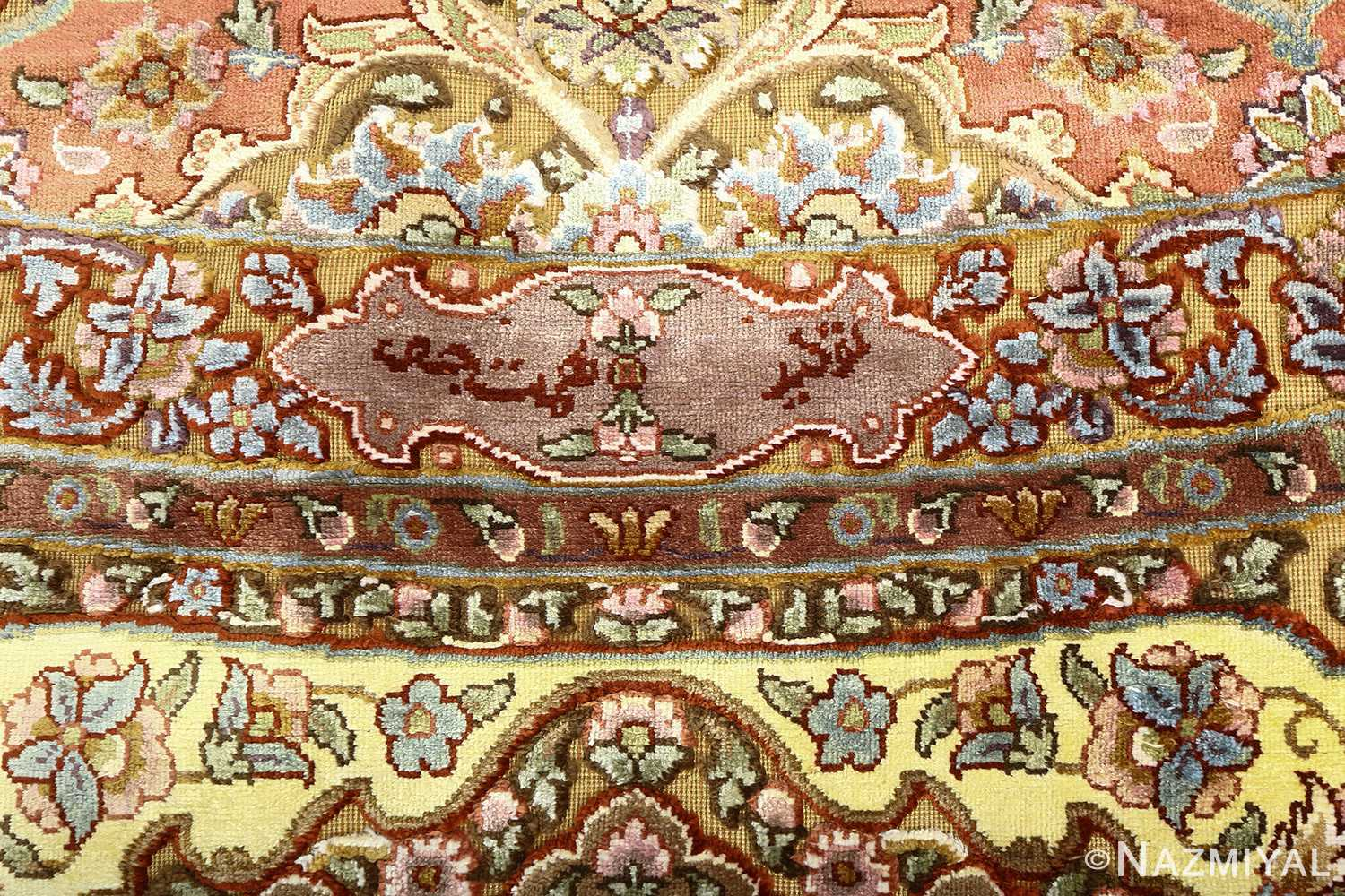 oval silk and gold threading vintage souf tabriz persian rug 51086 signature Nazmiyal