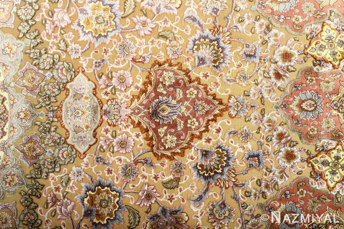 oval silk and gold threading vintage souf tabriz persian rug 51086 top Nazmiyal