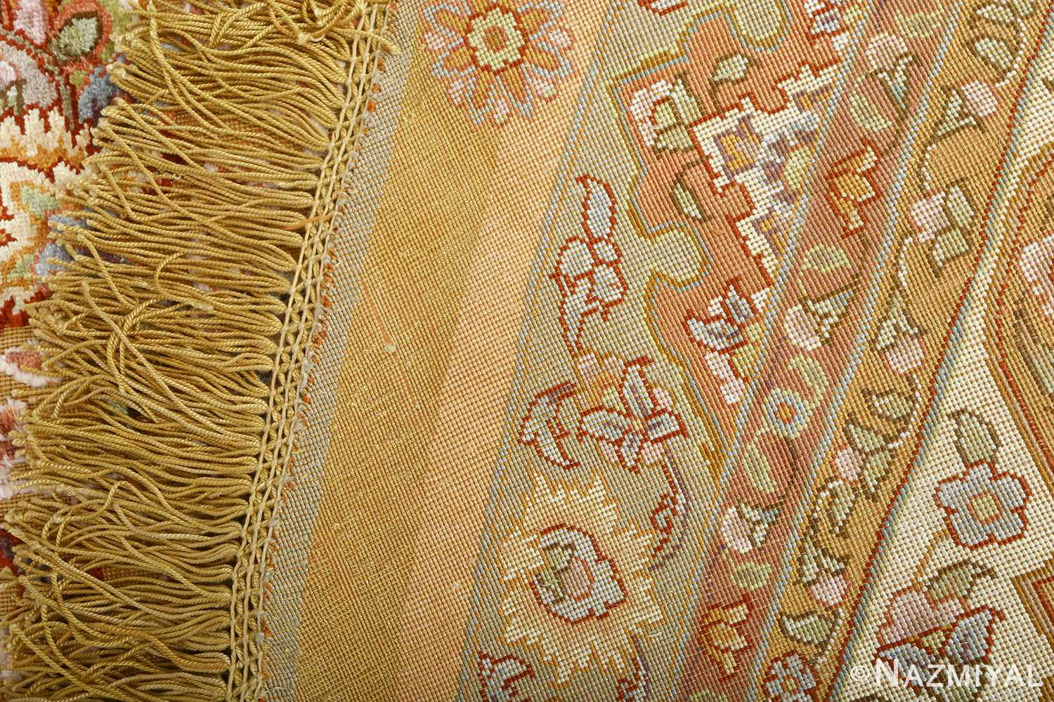 oval silk and gold threading vintage souf tabriz persian rug 51086 weave Nazmiyal