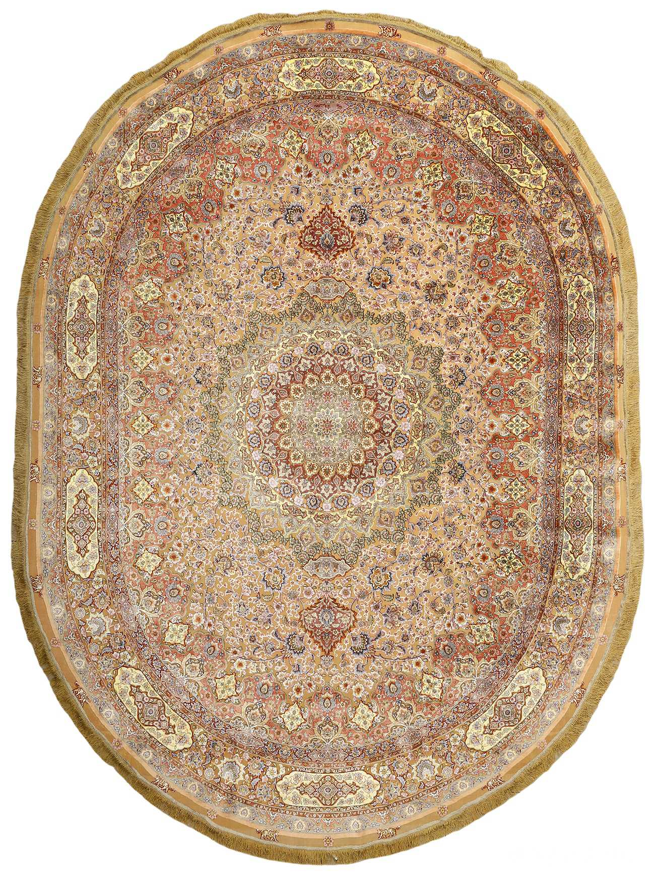 oval silk and gold threading vintage souf tabriz persian rug 51086 Nazmiyal