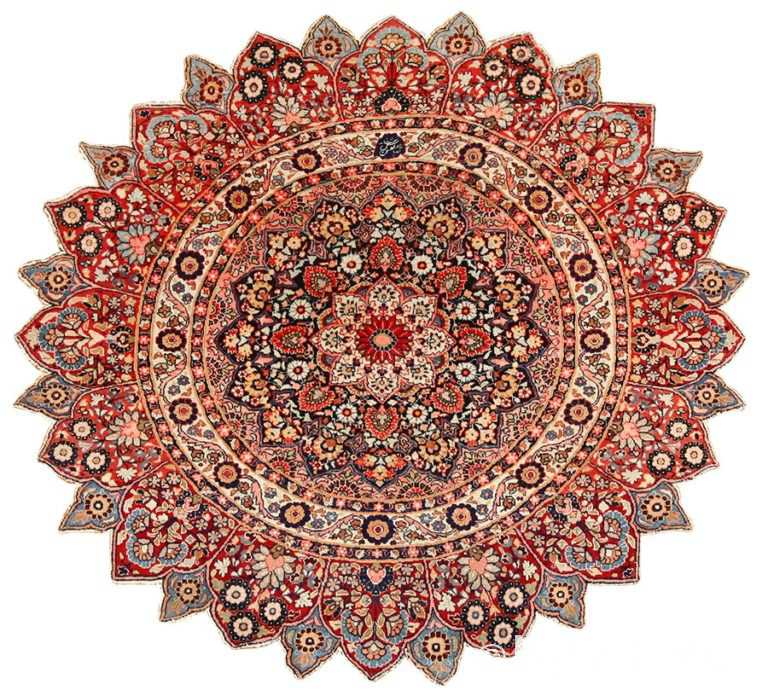 round antique khorassan persian rug 49255 Nazmiyal