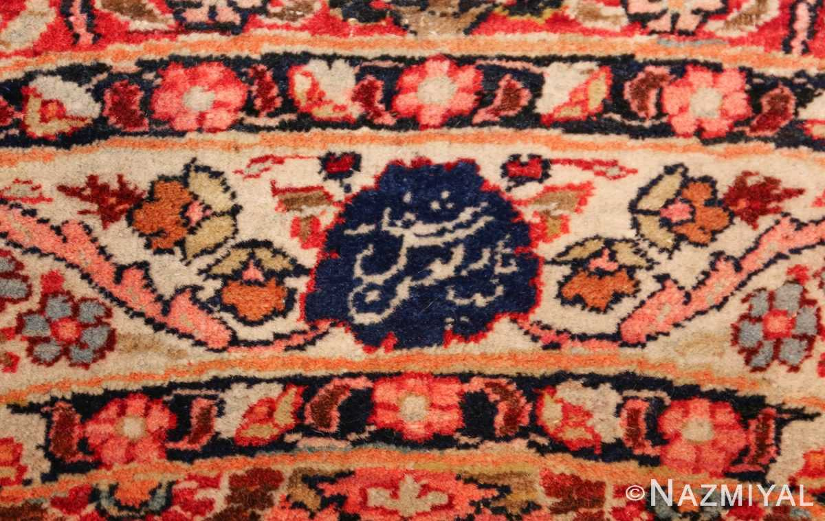 round antique khorassan persian rug 49255 signature Nazmiyal