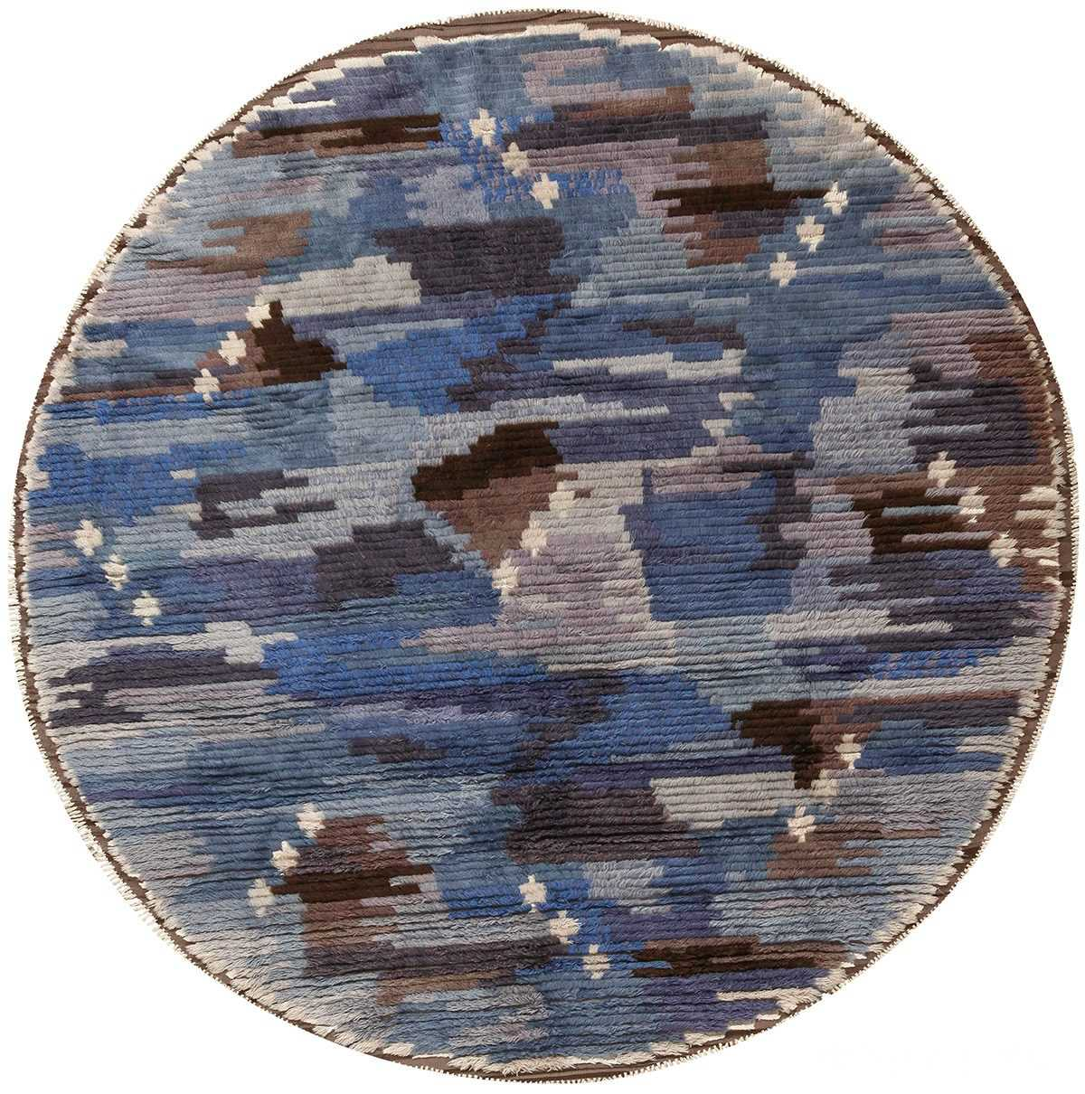 round blue vintage rya scandinavian rug 49266 Nazmiyal