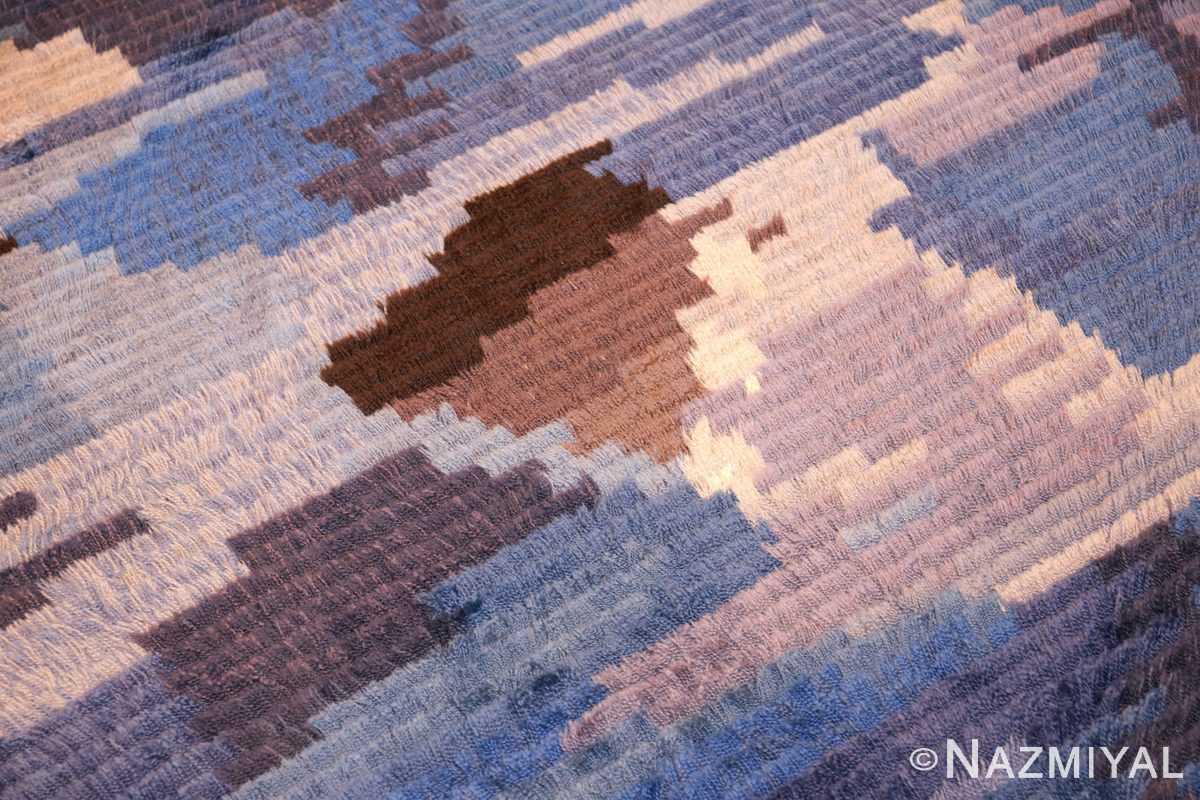 round blue vintage rya scandinavian rug 49266 center Nazmiyal