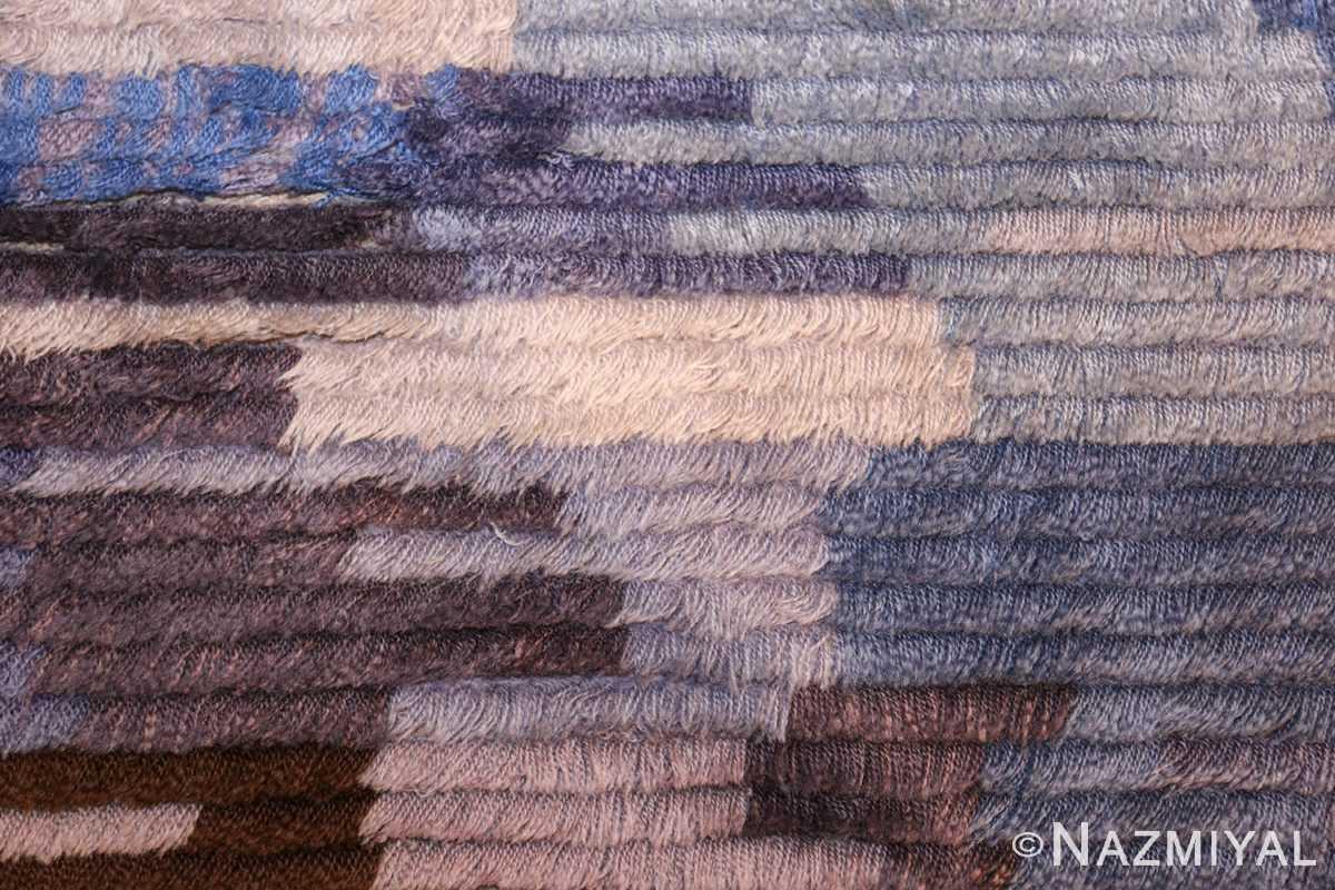 round blue vintage rya scandinavian rug 49266 closeup Nazmiyal