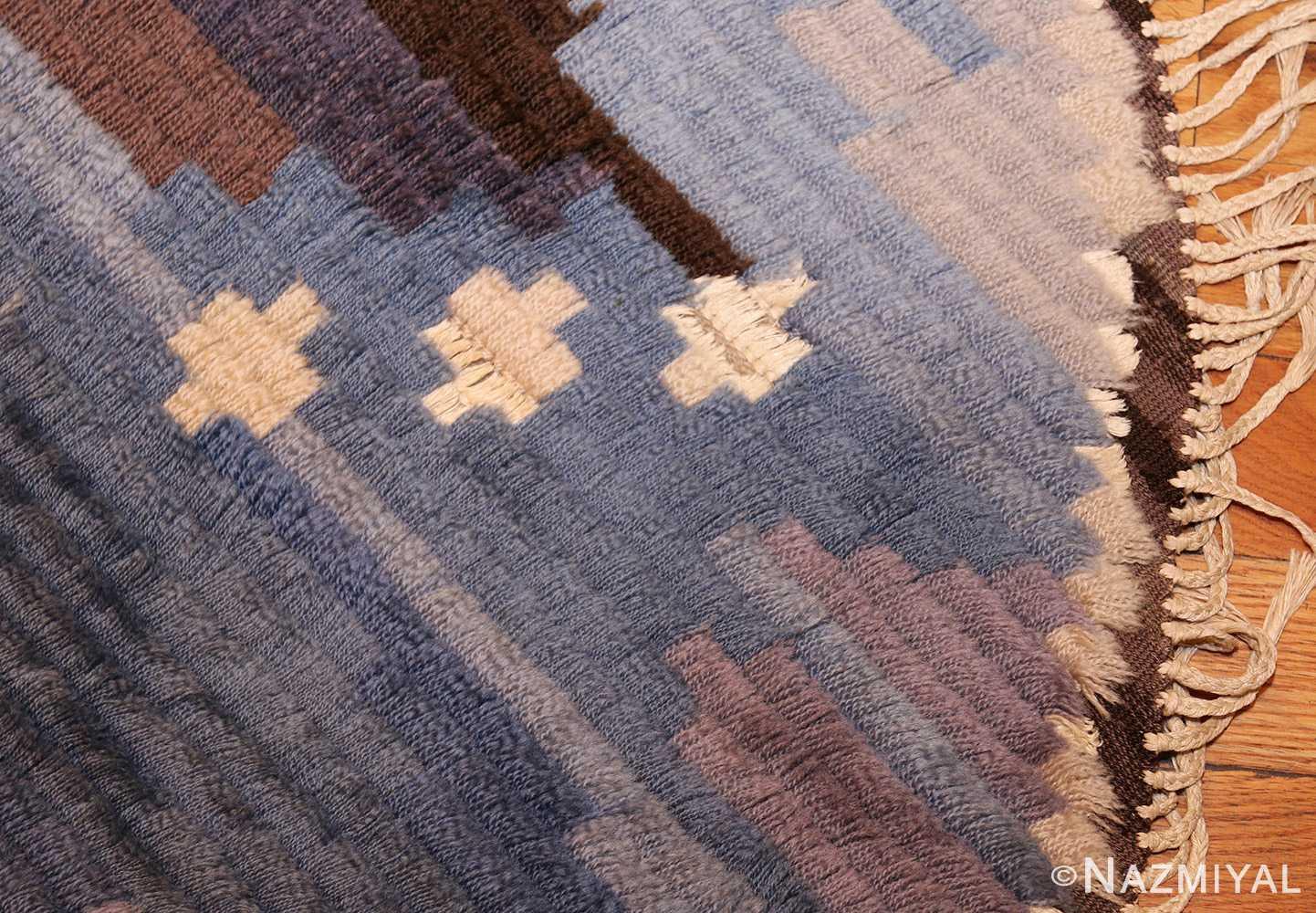 round blue vintage rya scandinavian rug 49266 corner Nazmiyal