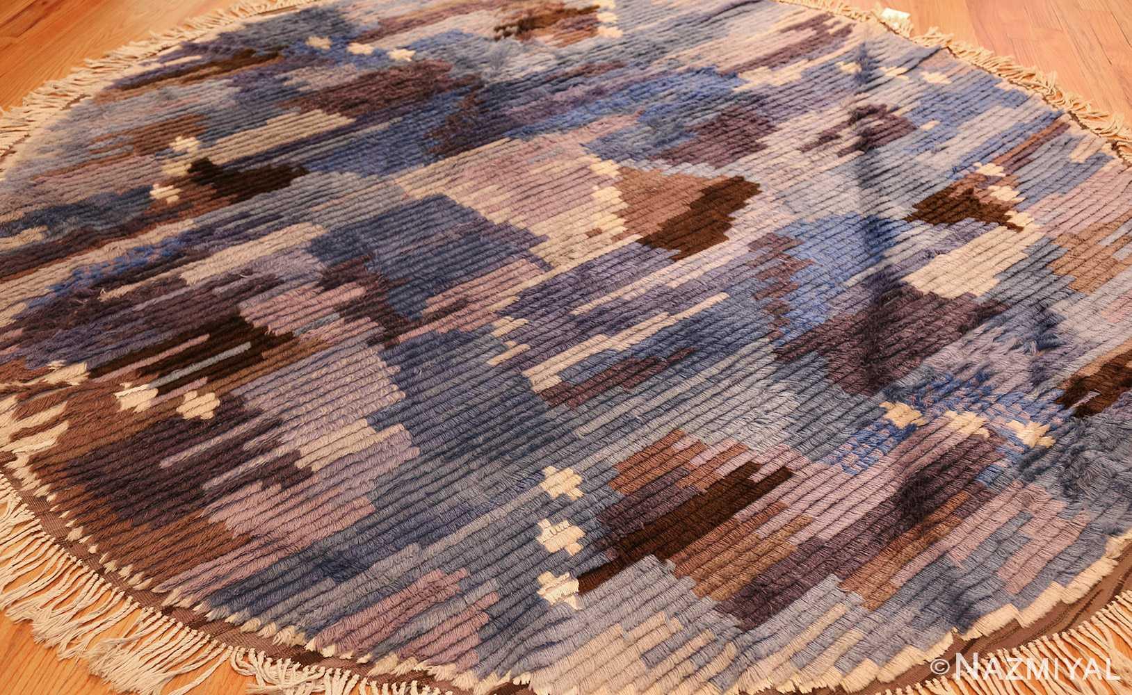round blue vintage rya scandinavian rug 49266 darkside Nazmiyal