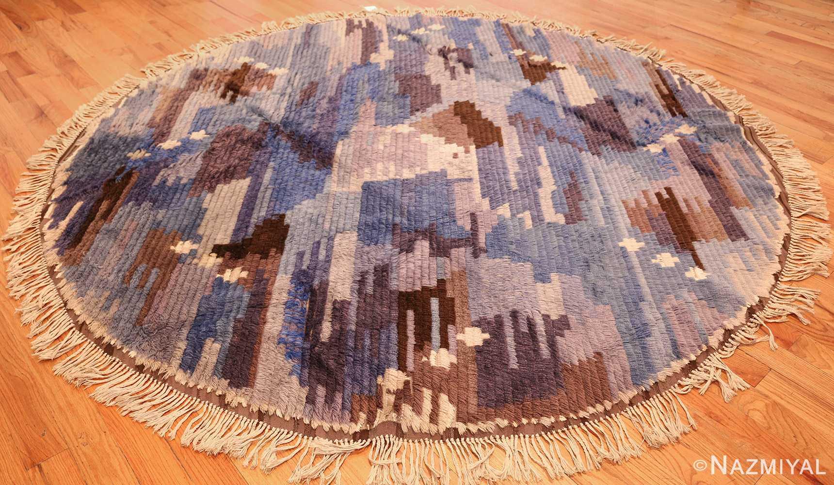 round blue vintage rya scandinavian rug 49266 full Nazmiyal