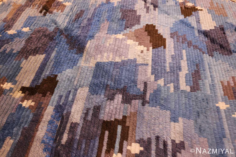 round blue vintage rya scandinavian rug 49266 middle Nazmiyal