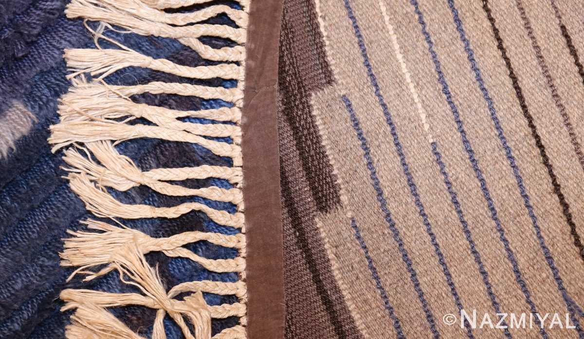 round vintage rya scandinavian rug 49266 weave Nazmiyal