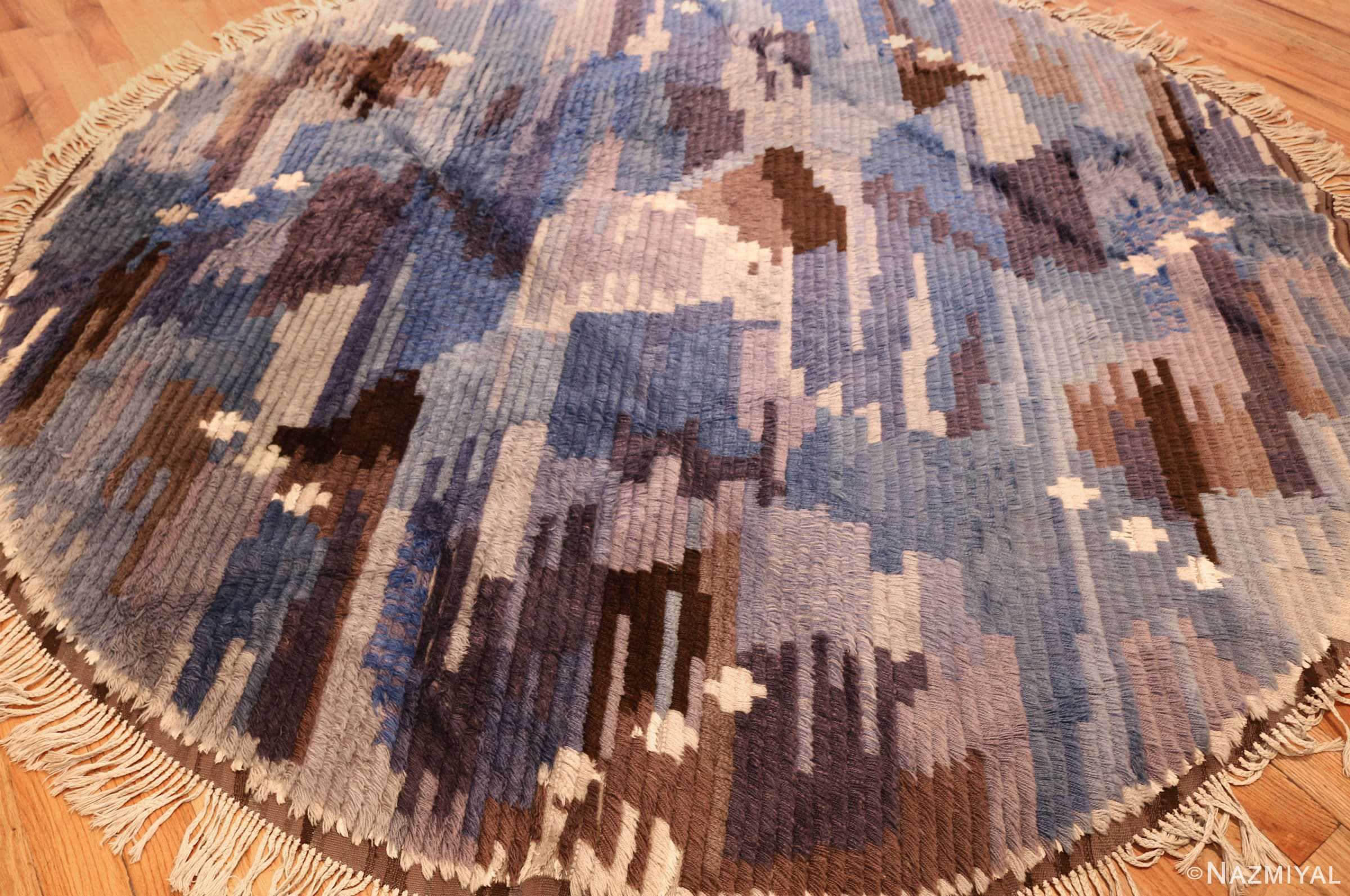 round blue vintage rya scandinavian rug 49266 whole Nazmiyal