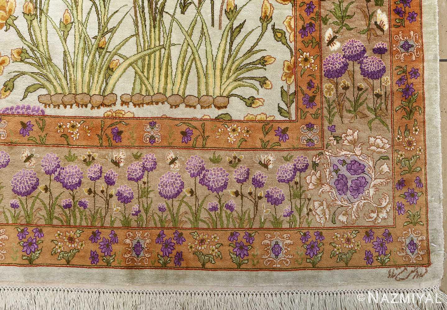silk floral vintage tabriz persian rug 51114 corner Nazmiyal