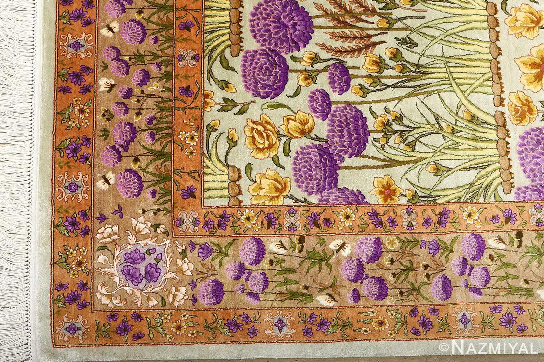 silk floral vintage tabriz persian rug 51114 dark Nazmiyal