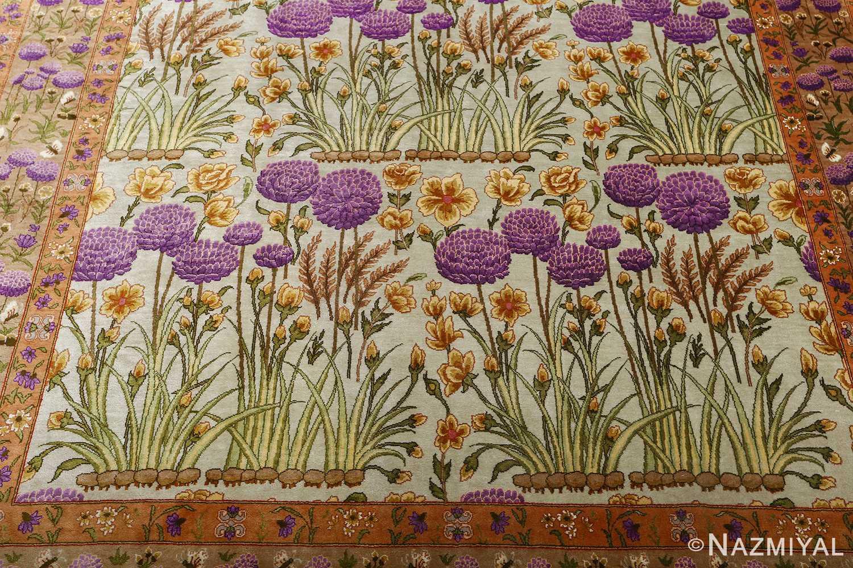 silk floral vintage tabriz persian rug 51114 down Nazmiyal