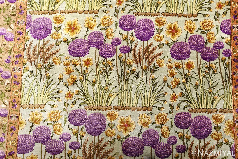 silk floral vintage tabriz persian rug 51114 middle Nazmiyal
