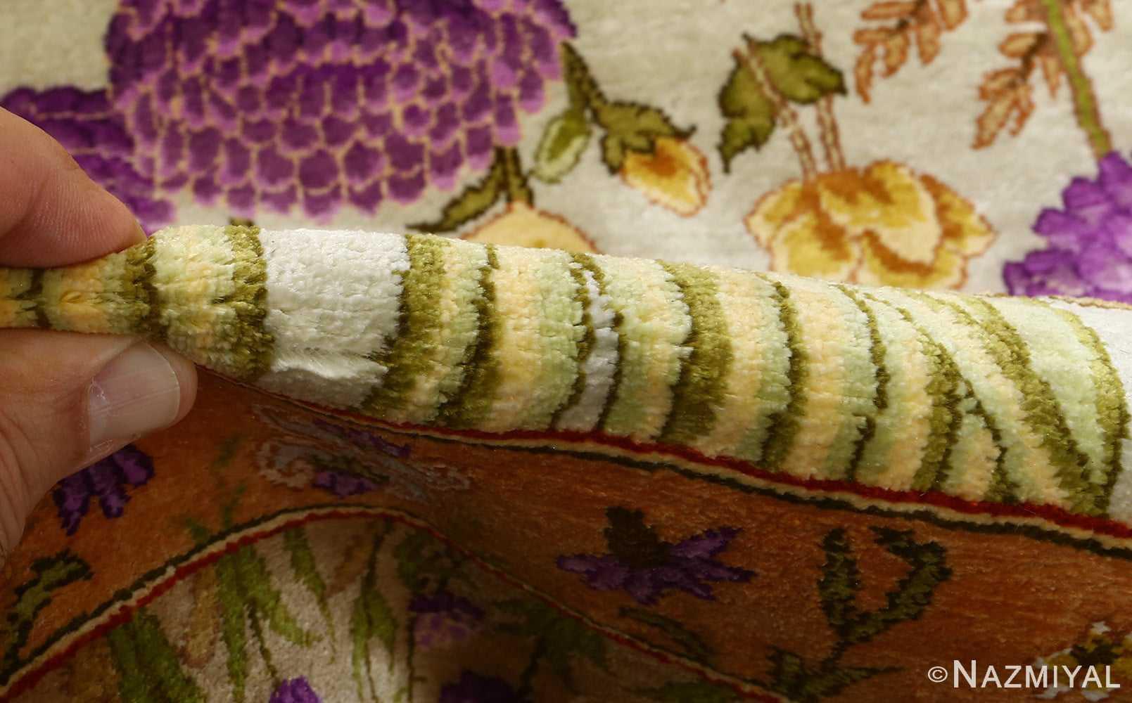 silk floral vintage tabriz persian rug 51114 pile Nazmiyal