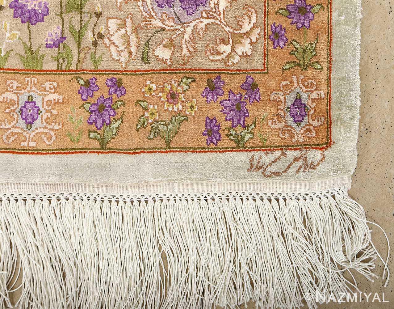 silk floral vintage tabriz persian rug 51114 signature Nazmiyal