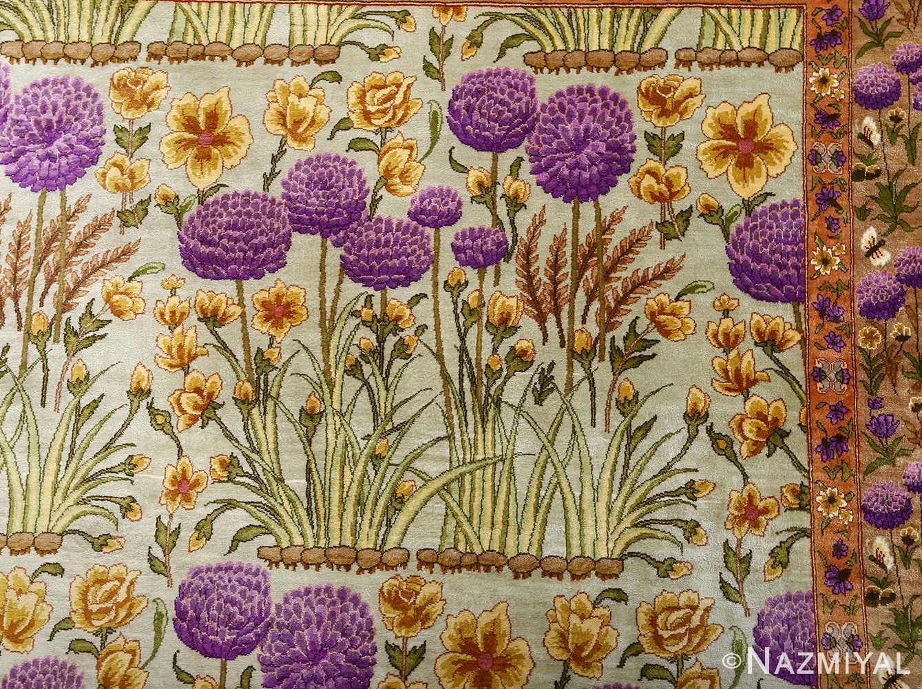 silk floral vintage tabriz persian rug 51114 top Nazmiyal