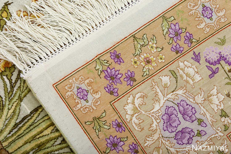 silk floral vintage tabriz persian rug 51114 weave Nazmiyal