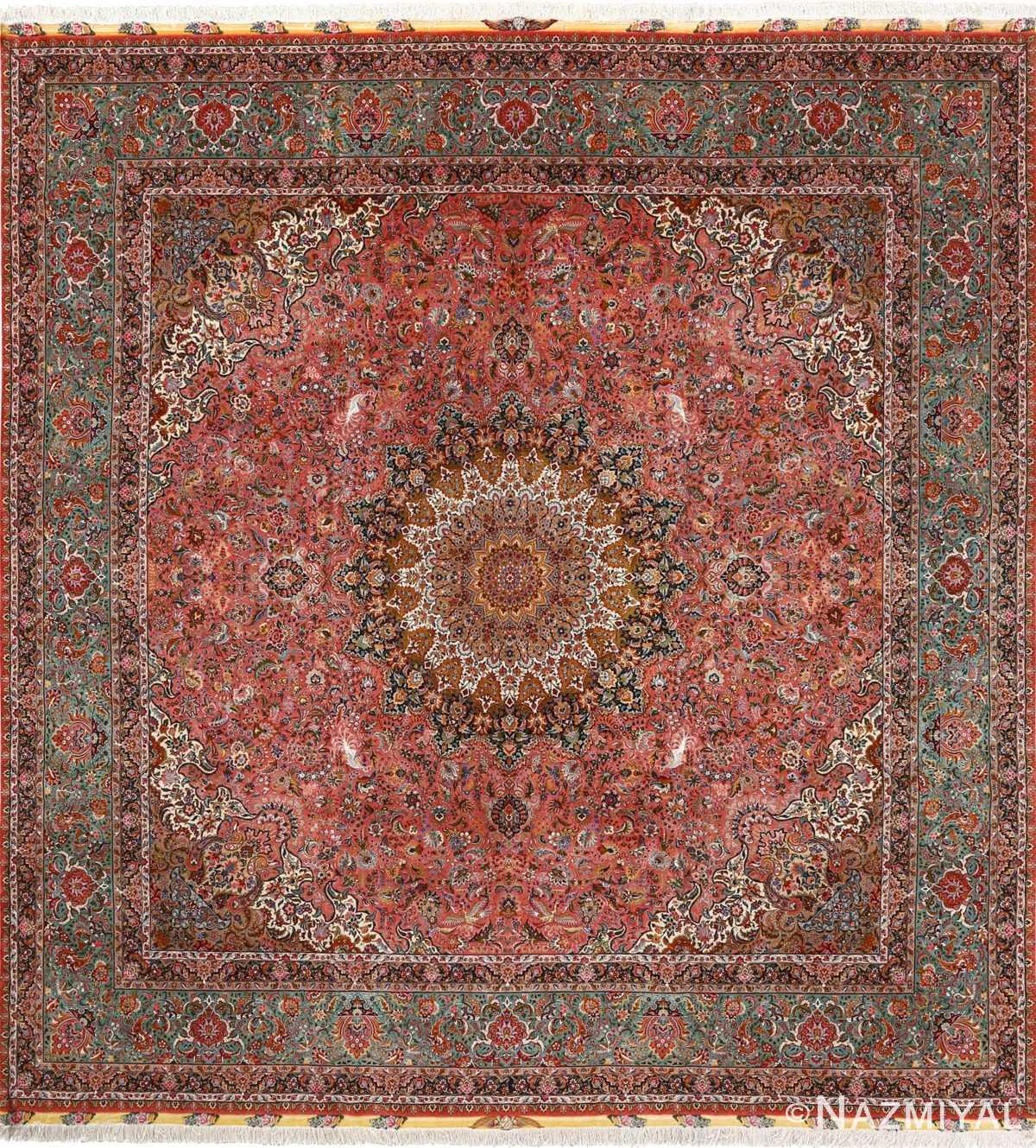 square animal motif vintage tabriz persian rug 51080 Nazmiyal