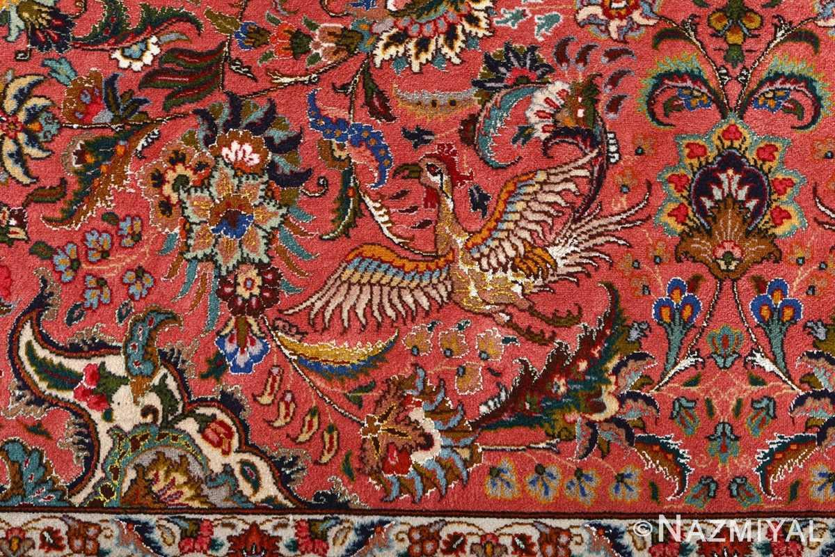 square animal motif vintage tabriz persian rug 51080 bird Nazmiyal