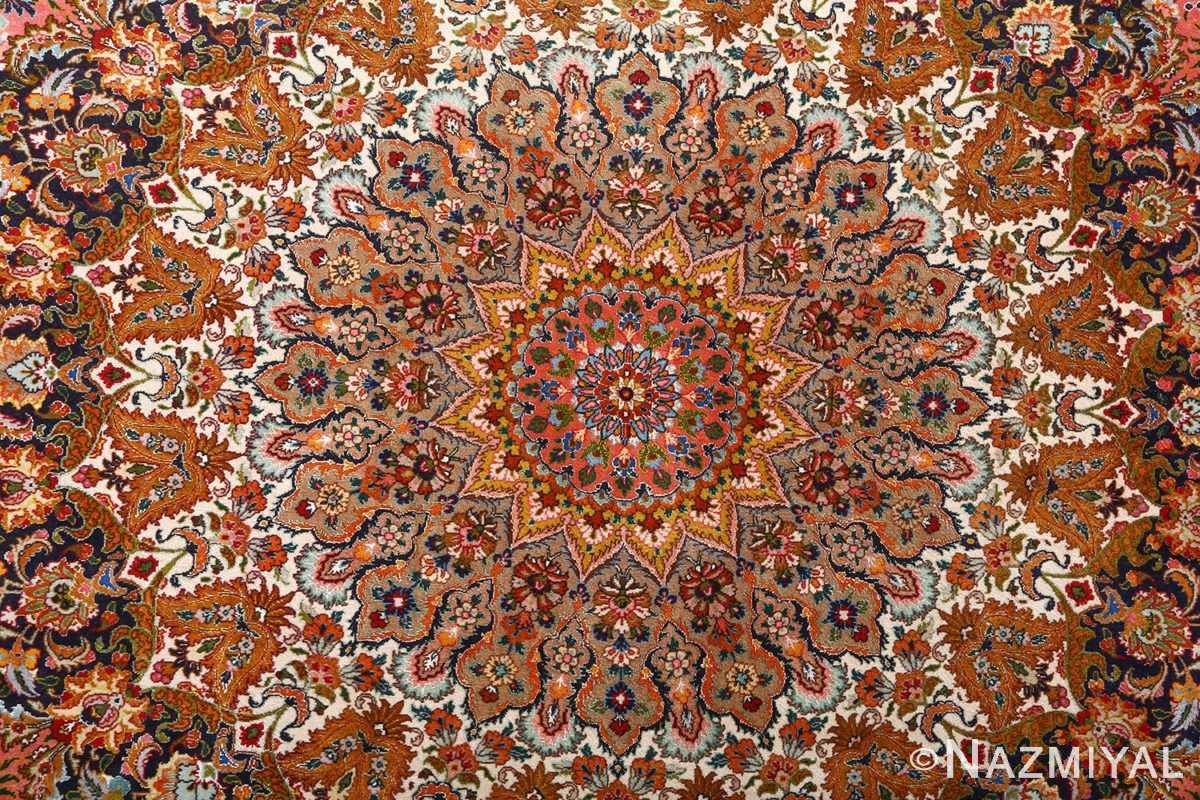 square animal motif vintage tabriz persian rug 51080 center Nazmiyal