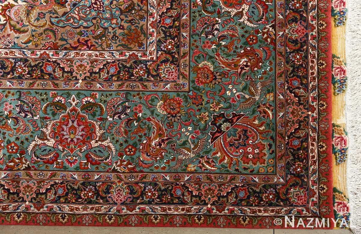 square animal motif vintage tabriz persian rug 51080 corner Nazmiyal
