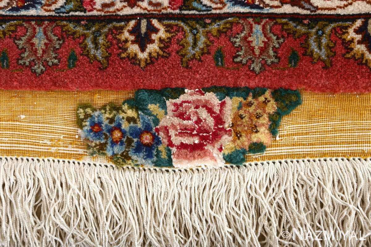 square animal motif vintage tabriz persian rug 51080 flower Nazmiyal