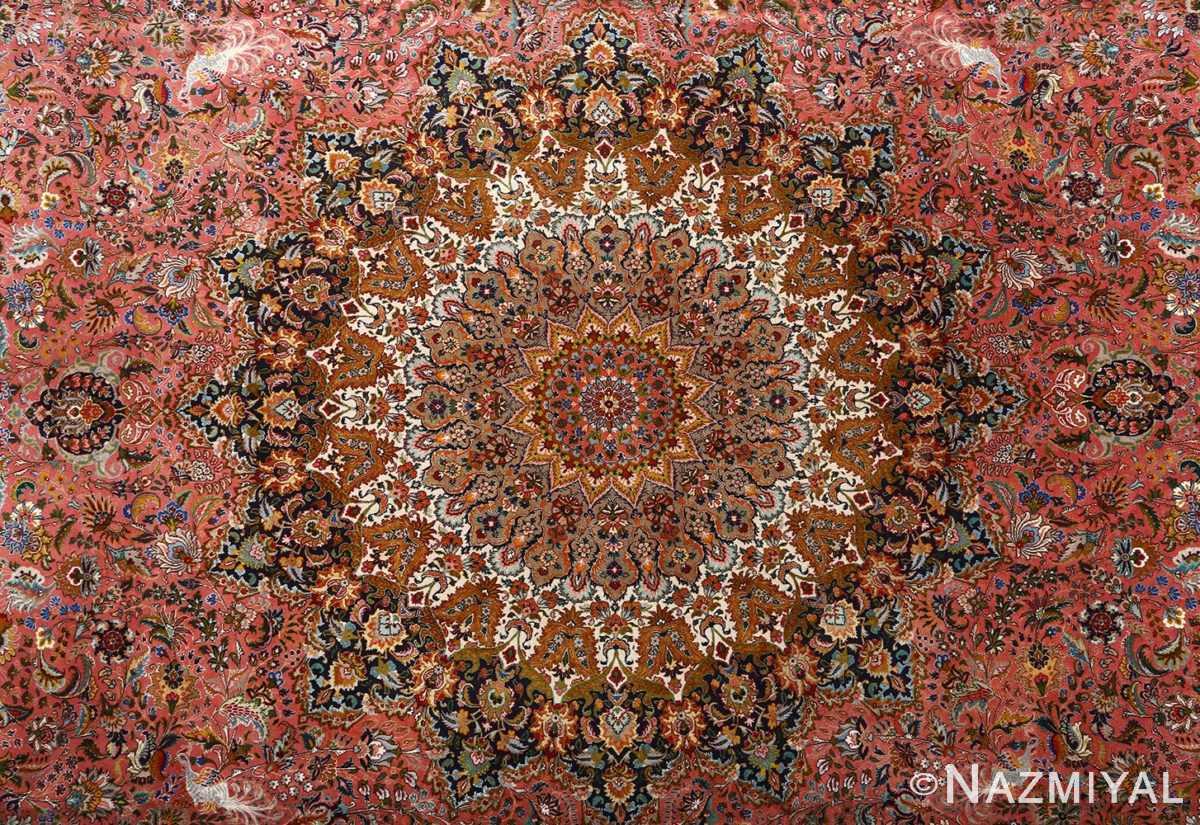 square animal motif vintage tabriz persian rug 51080 medallion Nazmiyal