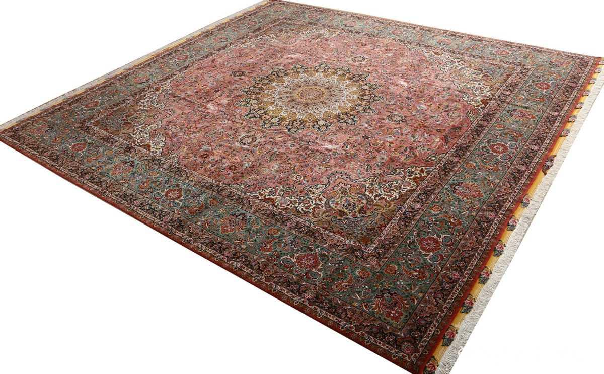square animal motif vintage tabriz persian rug 51080 side Nazmiyal