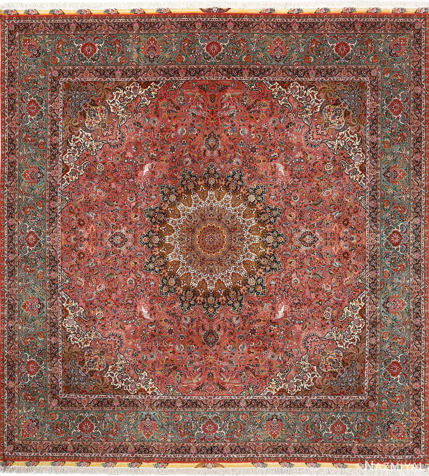 Modern Persian Tabriz Design Rug 44687 Nazmiyal Antique Rugs: Square Animal Motif Vintage Tabriz Persian Rug 51080 By
