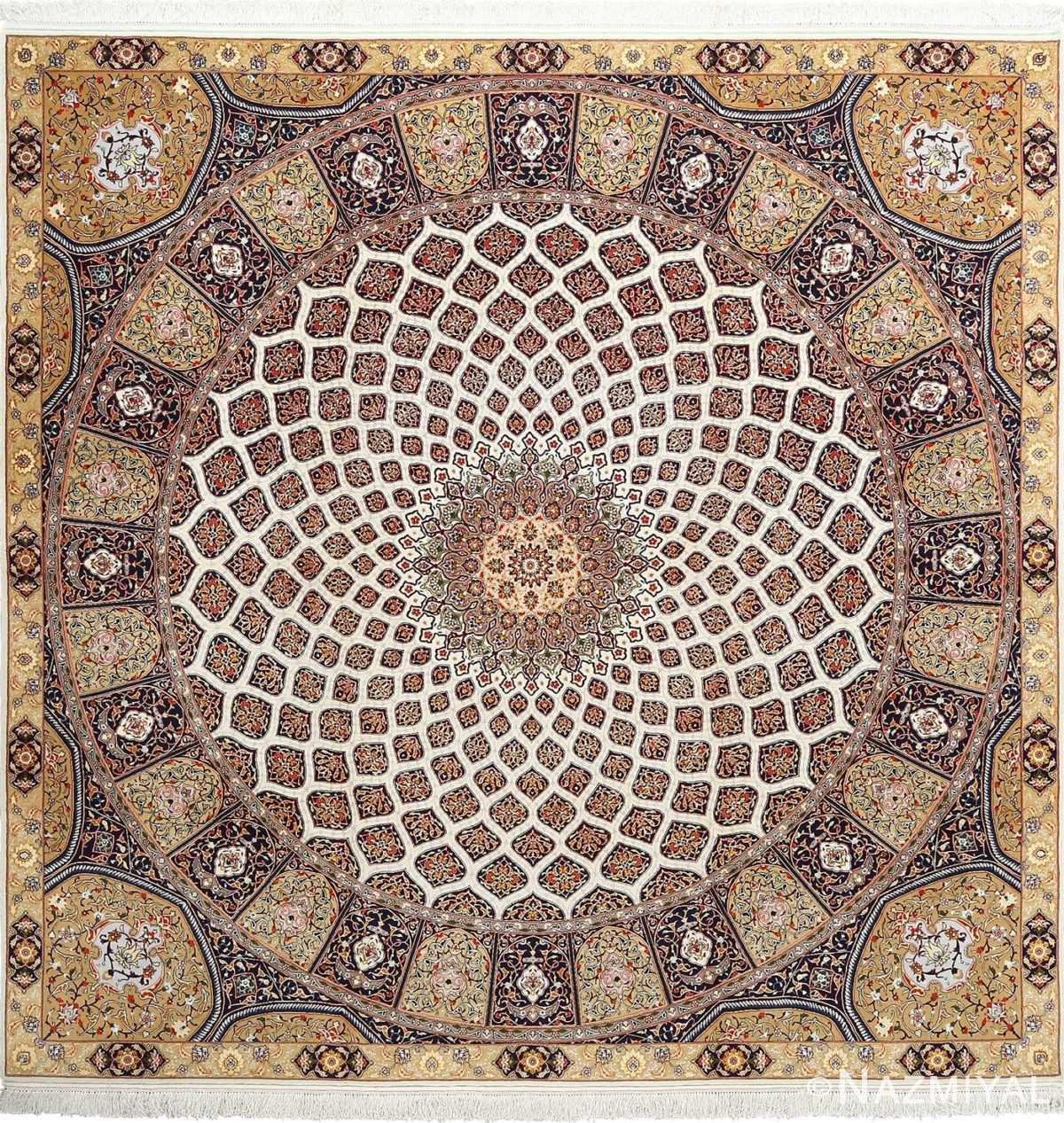 Modern Persian Tabriz Design Rug 44687 Nazmiyal Antique Rugs: Intricate Square Vintage Tabriz Persian Rug 51075 By Nazmiyal