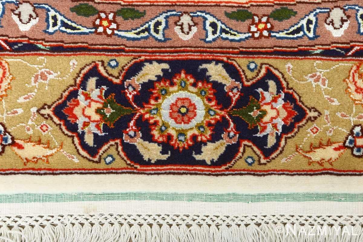 square gonbad design vintage tabriz persian rug 51075 fringes Nazmiyal