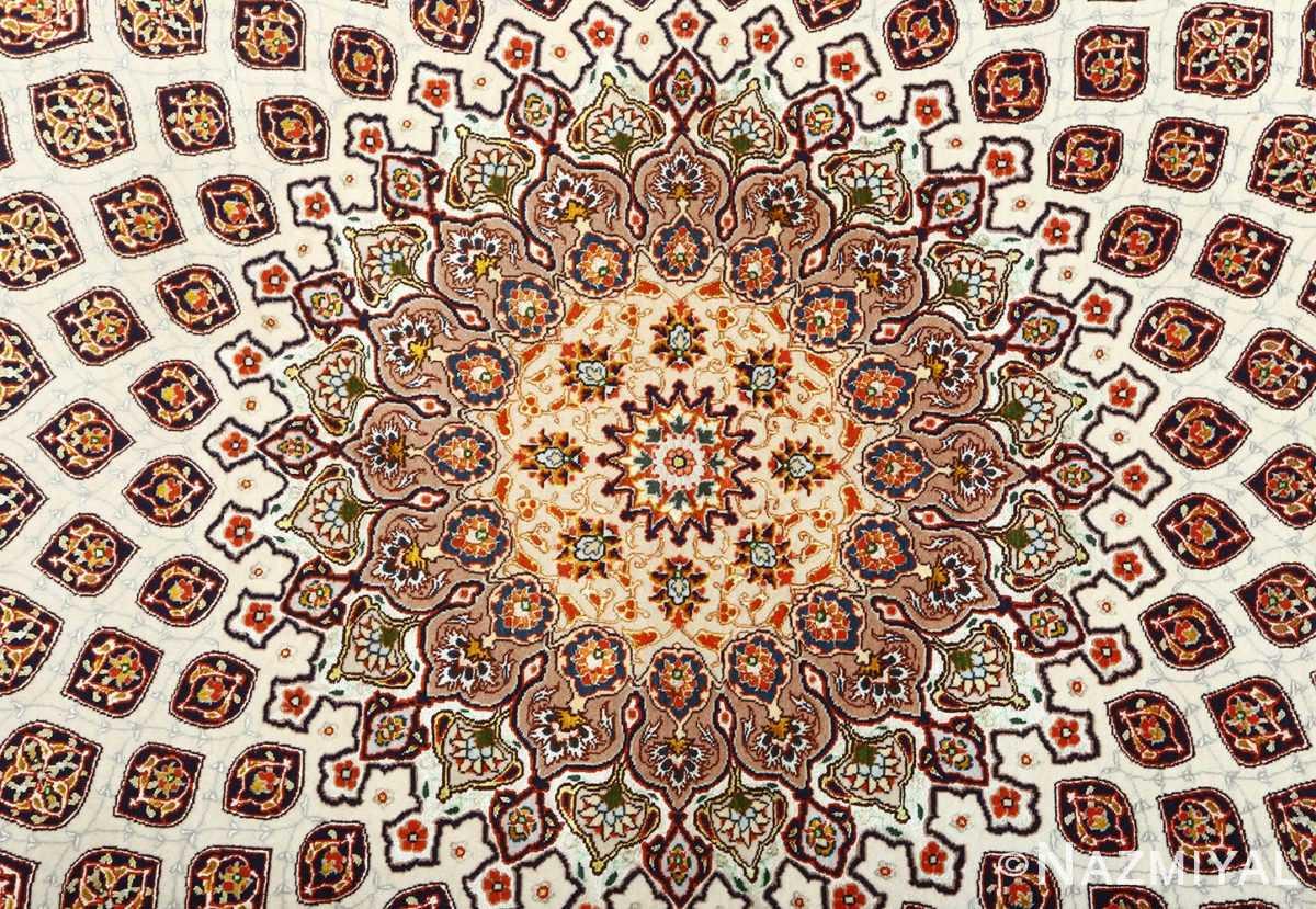 square gonbad design vintage tabriz persian rug 51075 medallion Nazmiyal