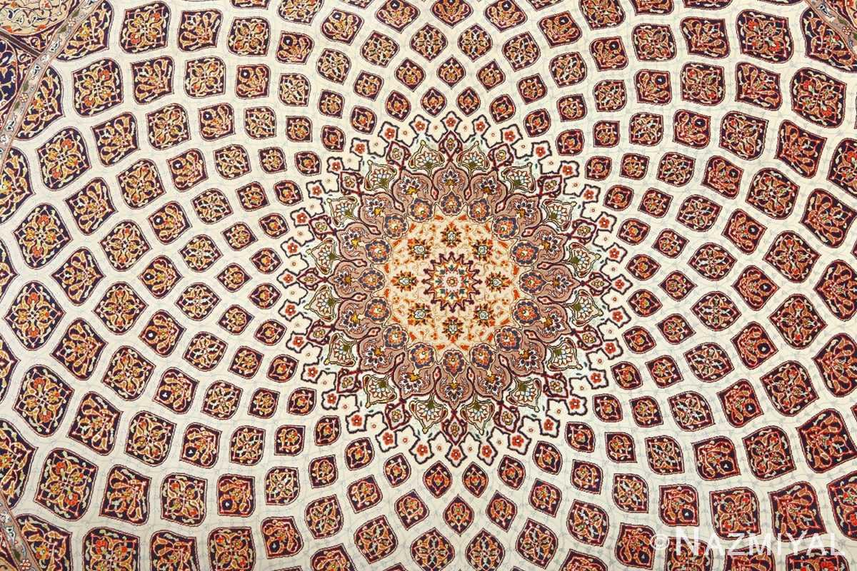 square gonbad design vintage tabriz persian rug 51075 middle Nazmiyal