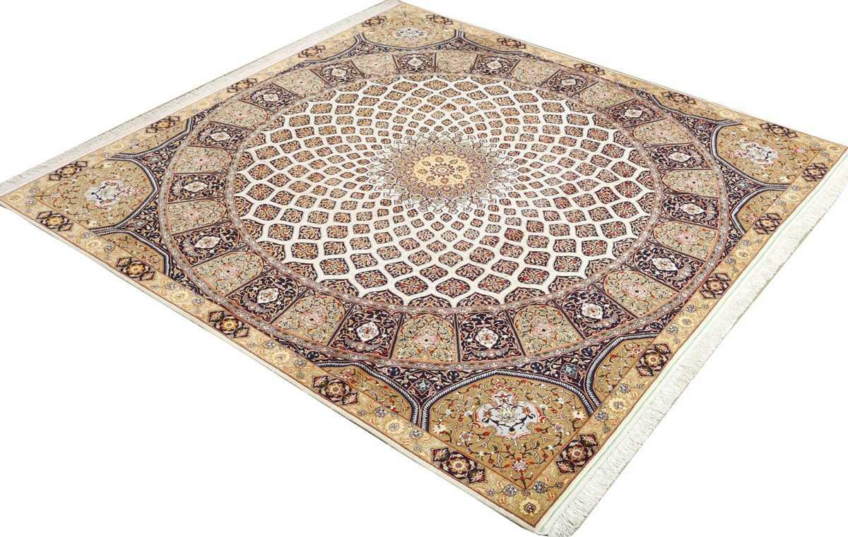 square gonbad design vintage tabriz persian rug 51075 side Nazmiyal