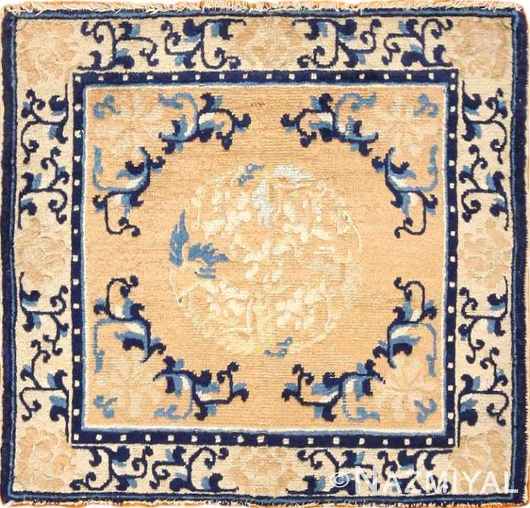 square satter size golden antique chinese rug 49274 Nazmiyal