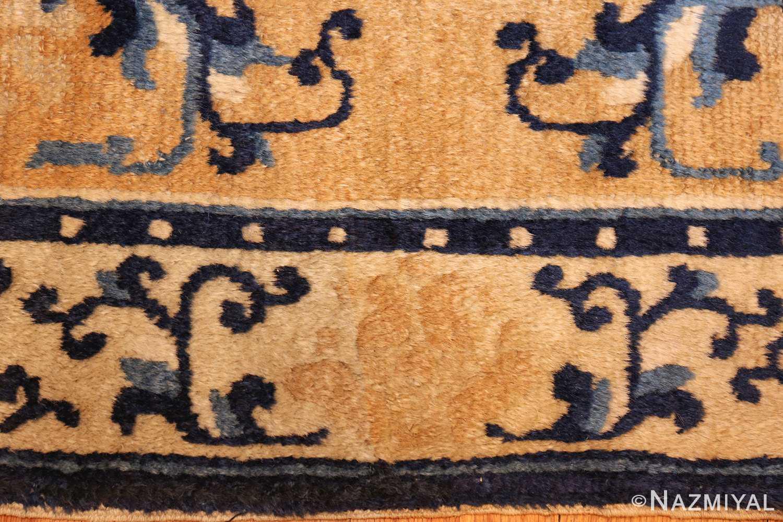 square scatter size golden antique chinese rug 49274 border Nazmiyal
