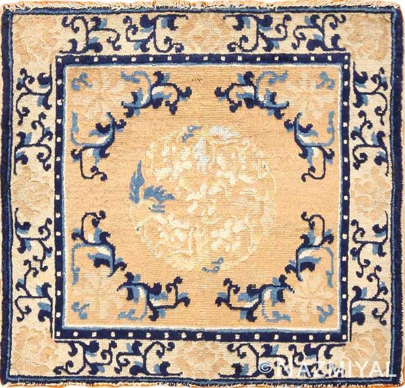 square satter size golden antique chinese rug 49274 Nazmiyal