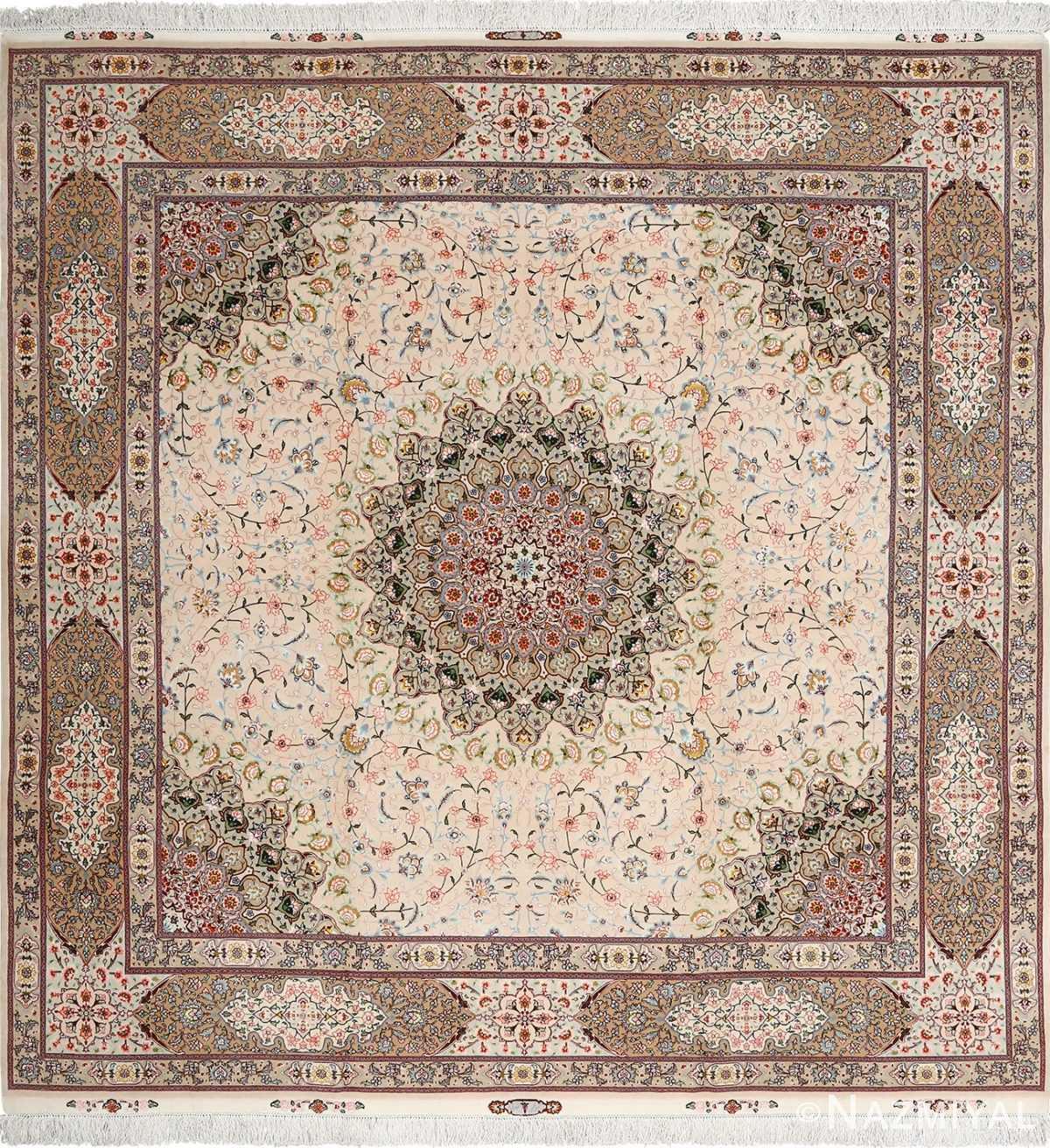 Modern Persian Tabriz Design Rug 44687 Nazmiyal Antique Rugs: Elaborate Square Vintage Tabriz Persian Rug 51076 By Nazmiyal