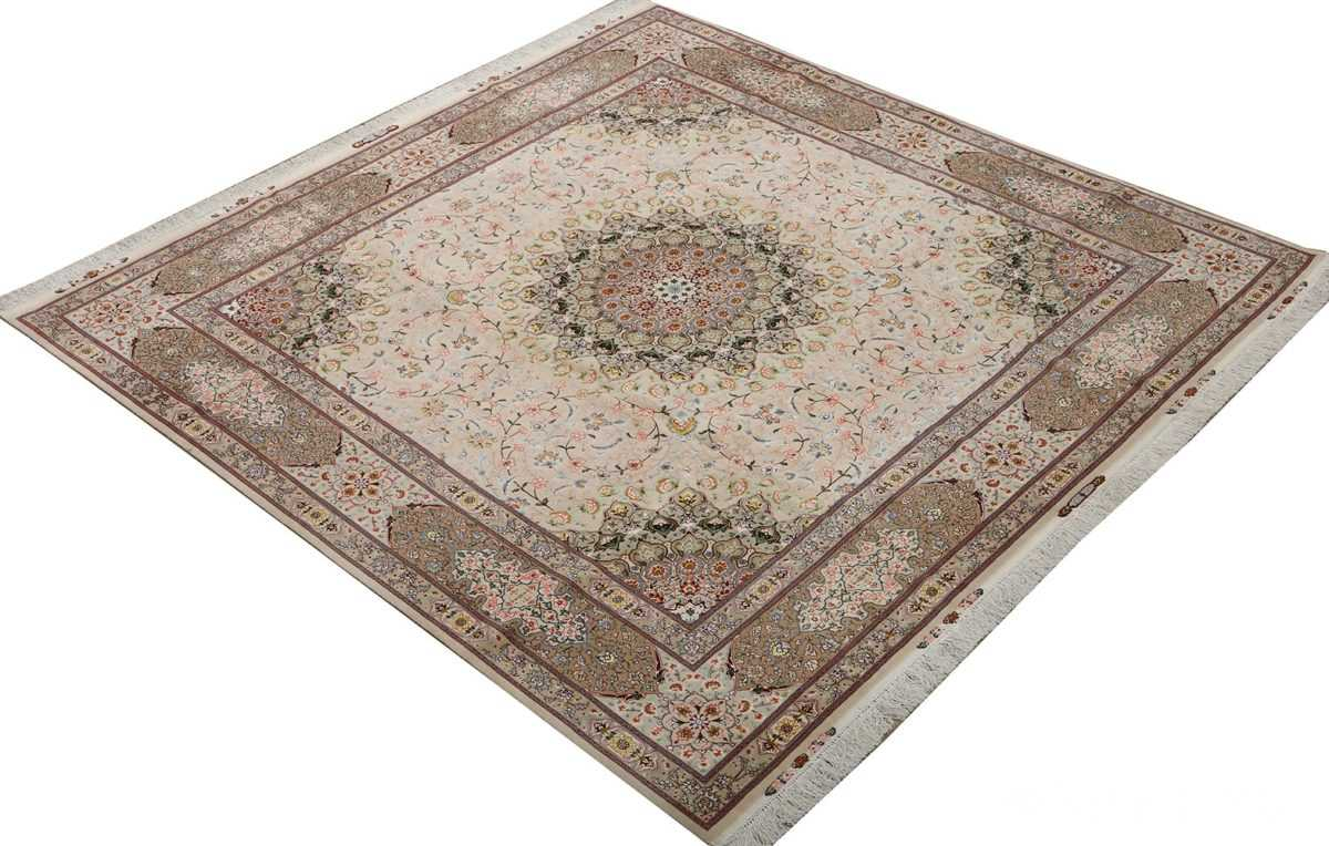 square shahsavarpour design vintage tabriz persian rug 51076 side Nazmiyal