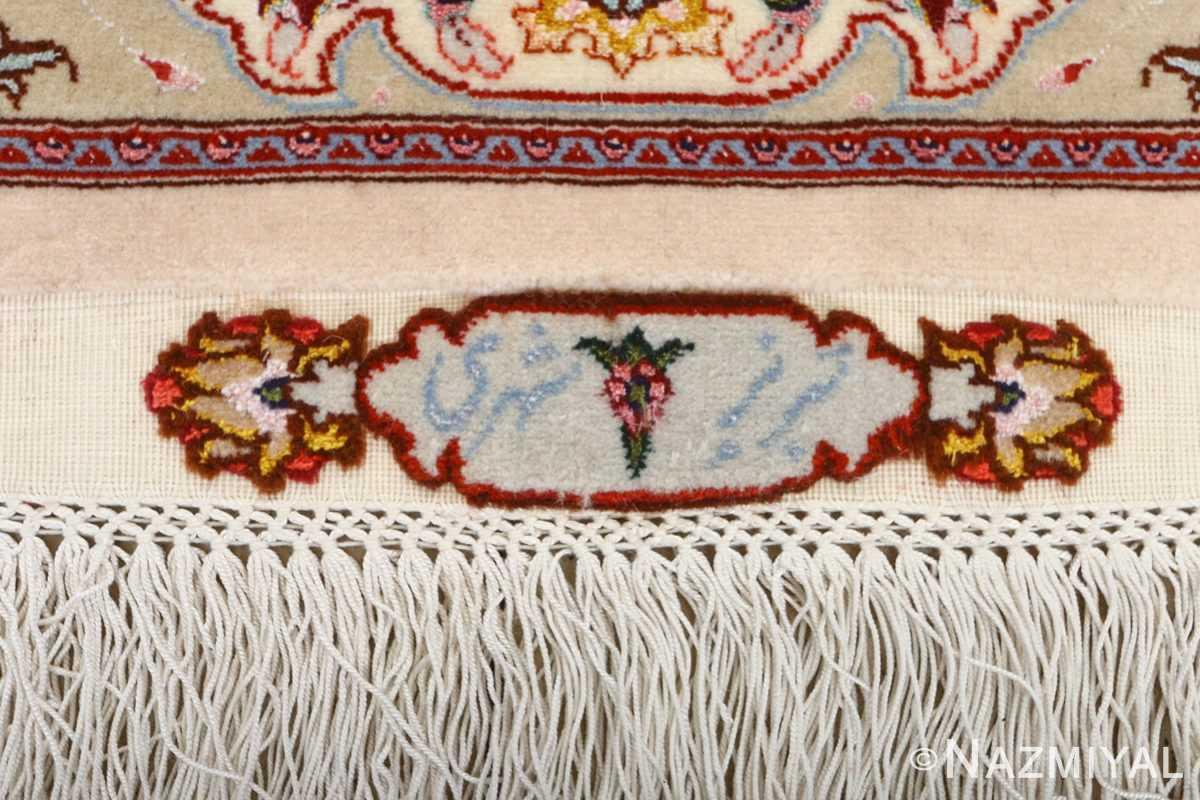 square shahsavarpour design vintage tabriz persian rug 51076 signature Nazmiyal